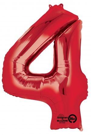 Balon Folie Cifra 4 Rosu