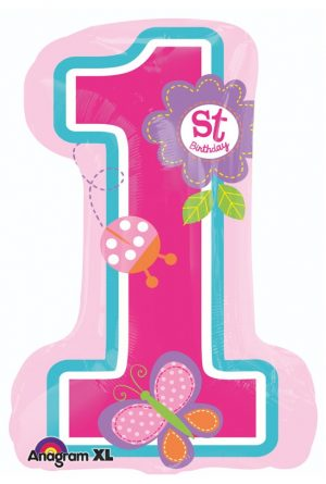 Balon 1st Birthday Girl SuperShape