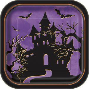 Farfurii Patrate Casa Bantuita Halloween 10 Buc