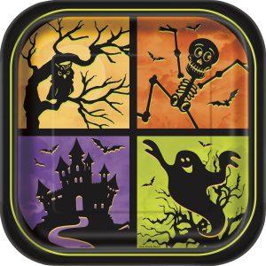 Farfurii Patrate Casa Bantuita Halloween 8 Buc